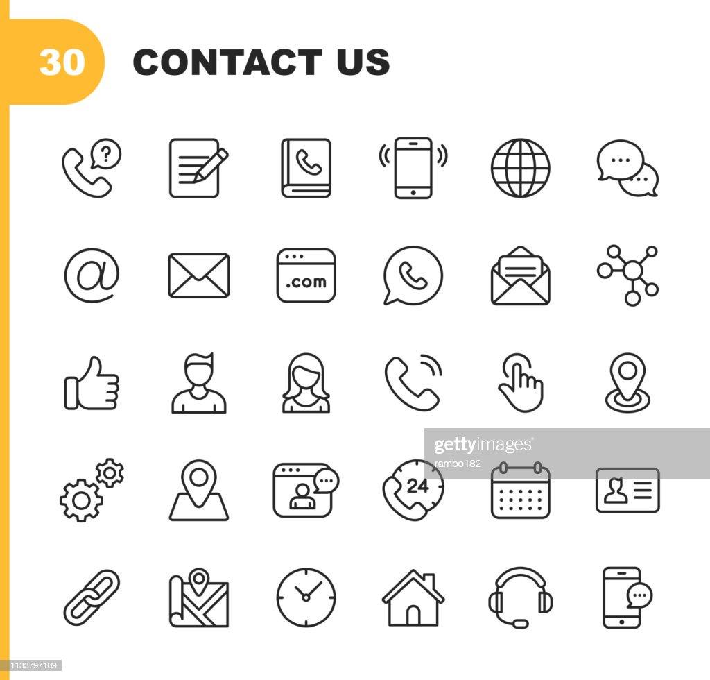 De pictogrammen van de contact lijn. Bewerkbare lijn. Pixel perfect. Voor mobiel en web. Bevat dergelijke pictogrammen zoals als knoop, plaats, kalender, overseinen, netwerk. : Stockillustraties