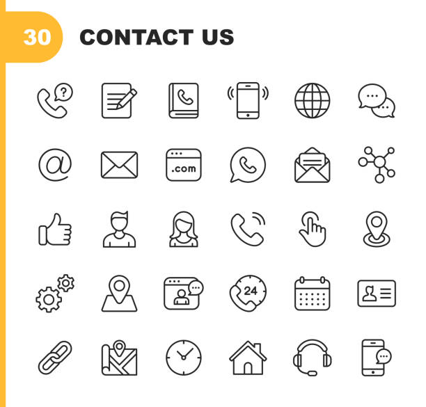 contact line icons. editable stroke. pixel perfect. for mobile and web. contains such icons as like button, location, calendar, messaging, network. - vector stock illustrations