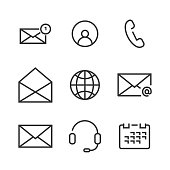 9 Contact Line Icons