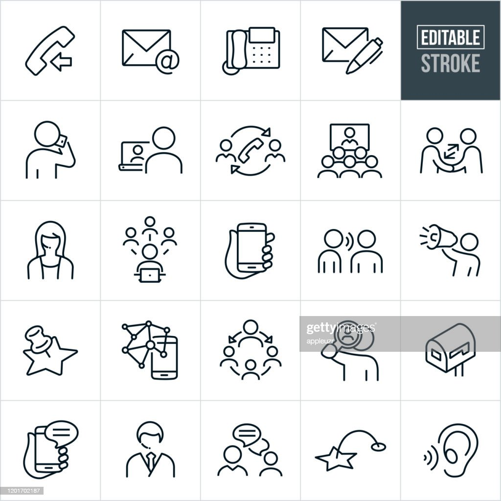 Kontaktmethoden Dünne Liniensymbole - Bearbeitbarer Strich : Stock-Illustration