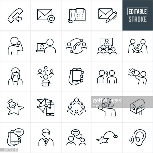 contact methods thin line icons - editable stroke - discussion stock illustrations