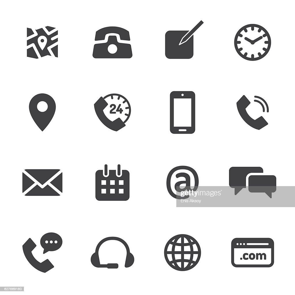 Contact Monochrome Icons : stock illustration