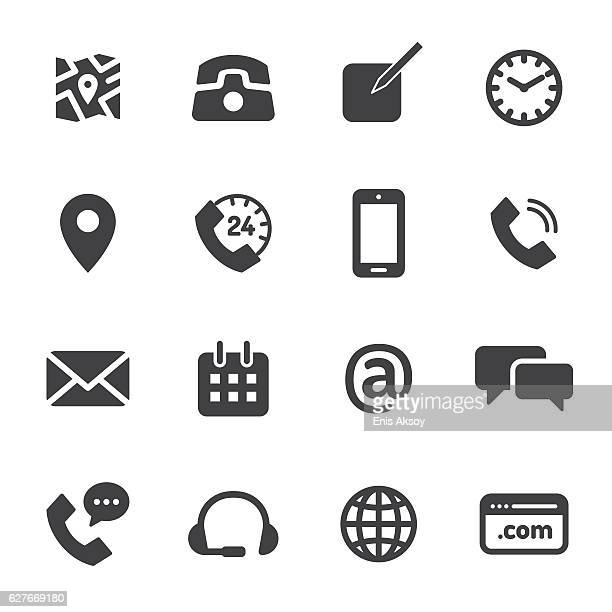 illustrazioni stock, clip art, cartoni animati e icone di tendenza di contact monochrome icons - immagine