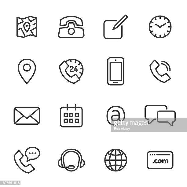 Contact Monochrome Line Icons