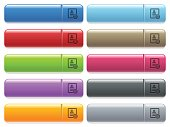 Contact options icons on color glossy, rectangular menu button