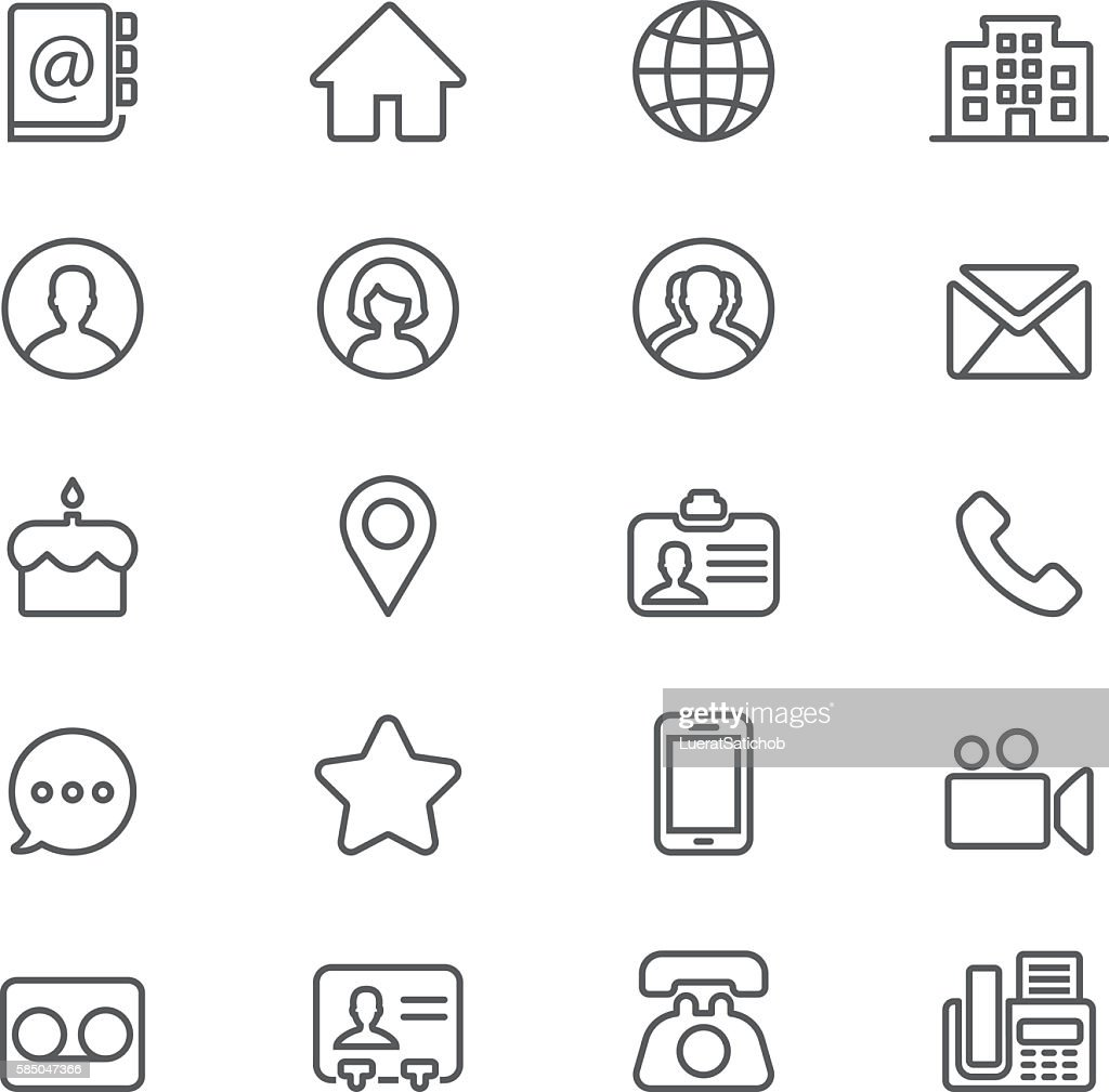Contact Social Media  Mobile Phone Line icons   EPS10 : stock illustration