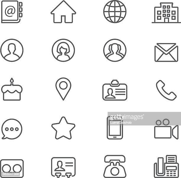 contact social media  mobile phone line icons | eps10 - locator map stock illustrations
