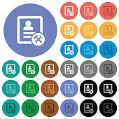 Contact tools round flat multi colored icons
