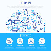 Contact us concept in half circle with thin line icons of telephone, fax, operator call center, e-mail, chat bot, pointer, feedback. Modern vector illustration for banner, web page, print media.