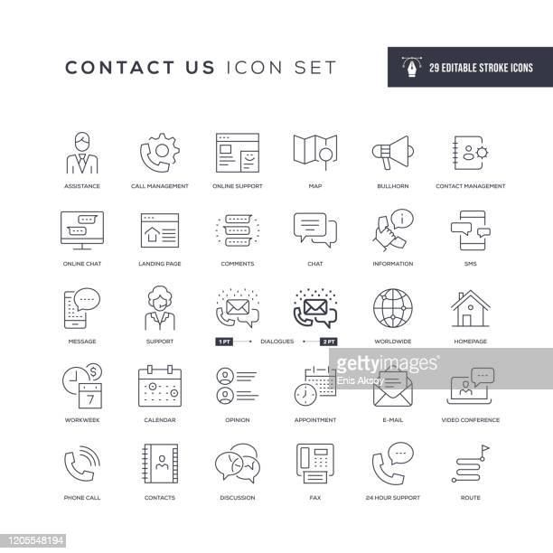 contact us editable stroke line icons - information medium stock illustrations