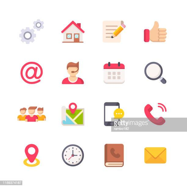contact us flat icons. material design icons. pixel perfect. for mobile and web. contains such icons as support, home, agreement, text messaging, scheduling, telephone, smartphone, address book. - locator map stock illustrations