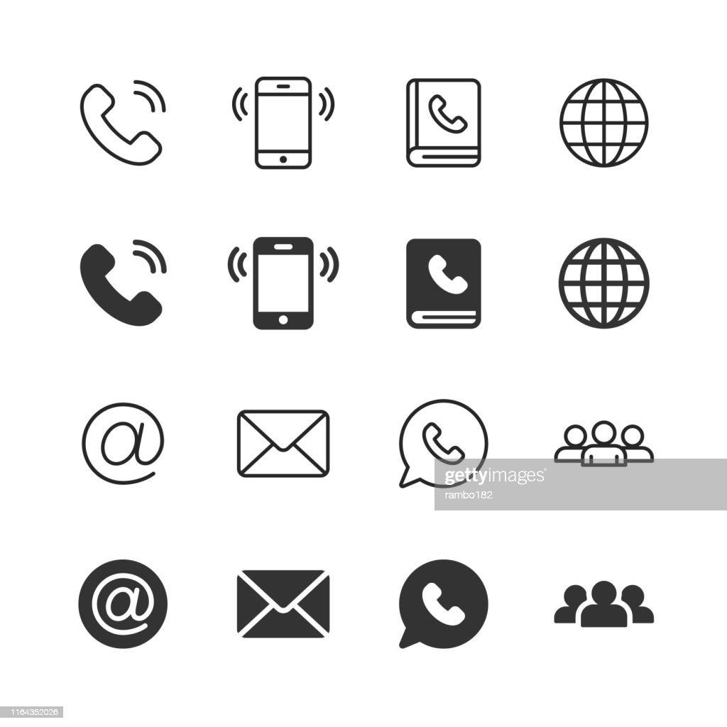 Kontaktieren Sie uns Glyphen- und Liniensymbole. Bearbeitbarer Strich. Pixel perfekt. Für Mobile und Web. Enthält Symbole wie Telefon, Smartphone, Globus, E-Mail, Support. : Stock-Illustration