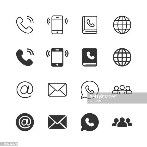 contact us glyph and line icons. editable stroke. pixel perfect. for mobile and web. contains such icons as phone, smartphone, globe, e-mail, support. - {{ collectponotification.cta }} stock illustrations