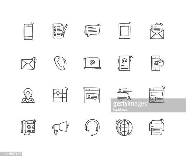 kontaktieren sie uns hand draw line icon set - adressbuch stock-grafiken, -clipart, -cartoons und -symbole