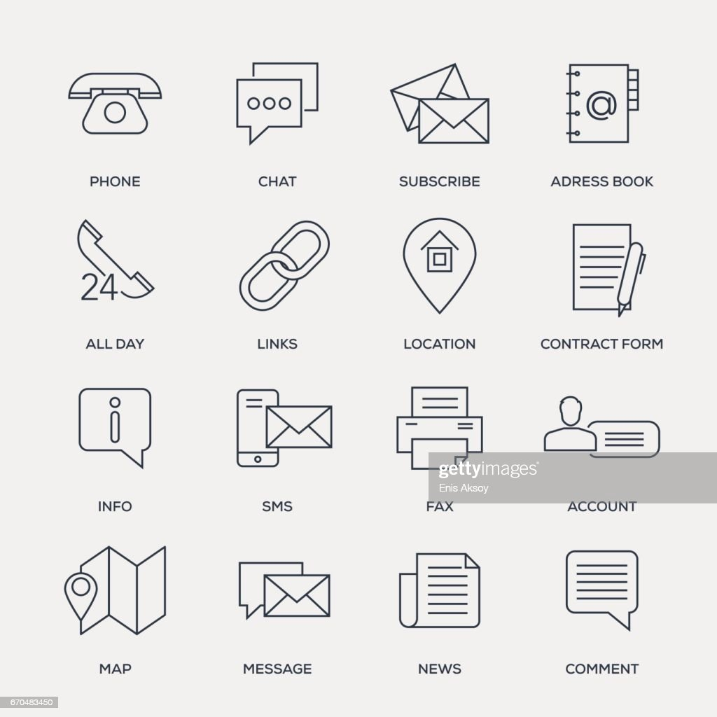 Contact Us Icon Set - Line Series