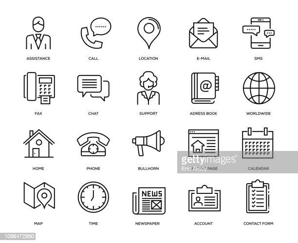 contact us icon set - famous place stock illustrations