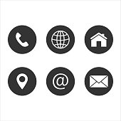 contact us icon, web, blog and social media round icons
