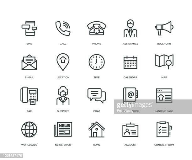 contact us icons - line series - connection stock illustrations
