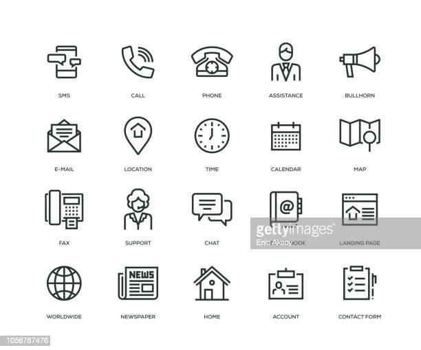 ilustraciones, imágenes clip art, dibujos animados e iconos de stock de entrarnos en contacto con los iconos - serie - tocar