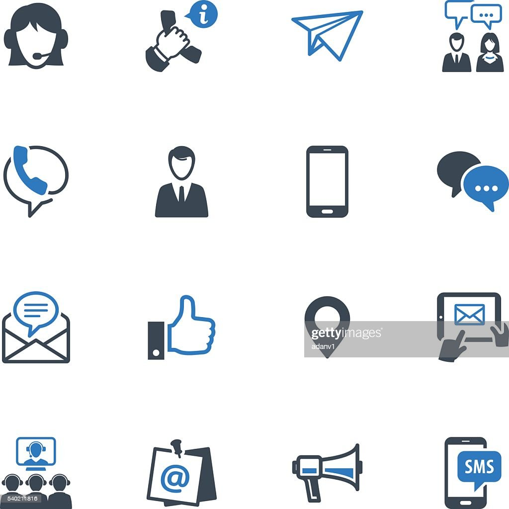 Contact Us Icons Set 4 - Blue Series