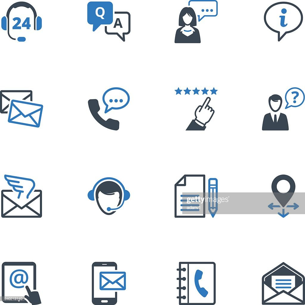 Contact Us Icons Set 6 - Blue Series