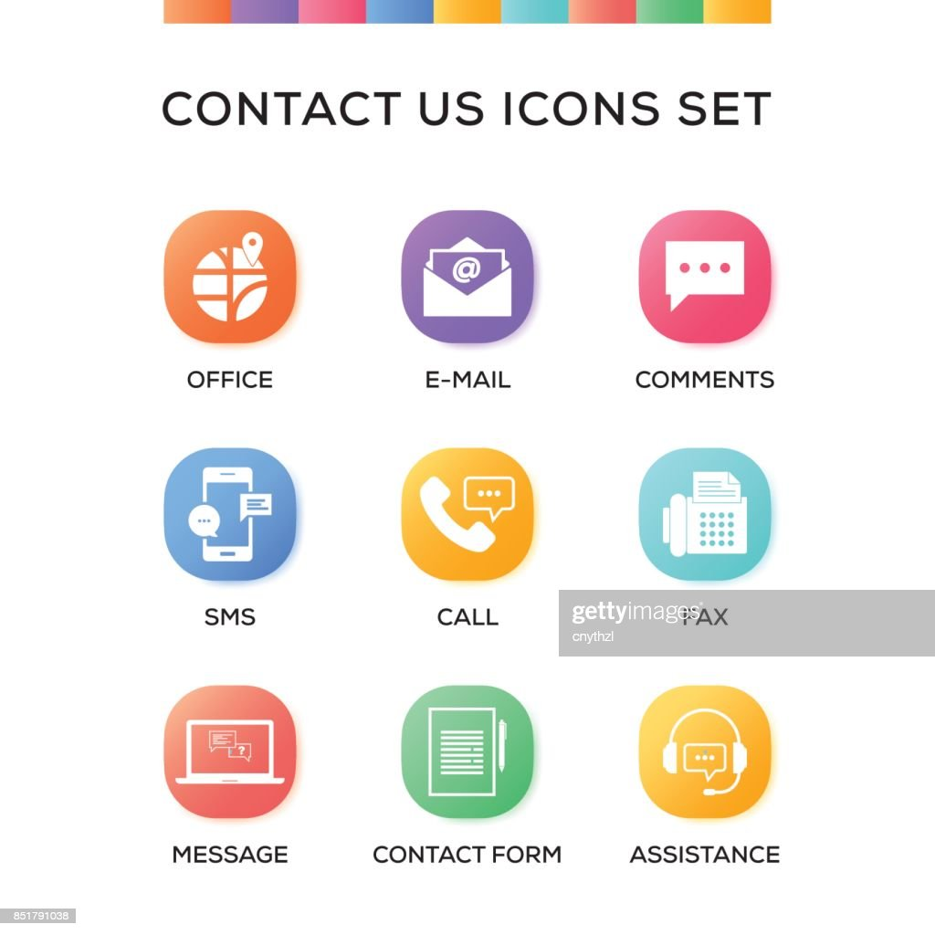 Contact Us Icons Set on Gradient Background