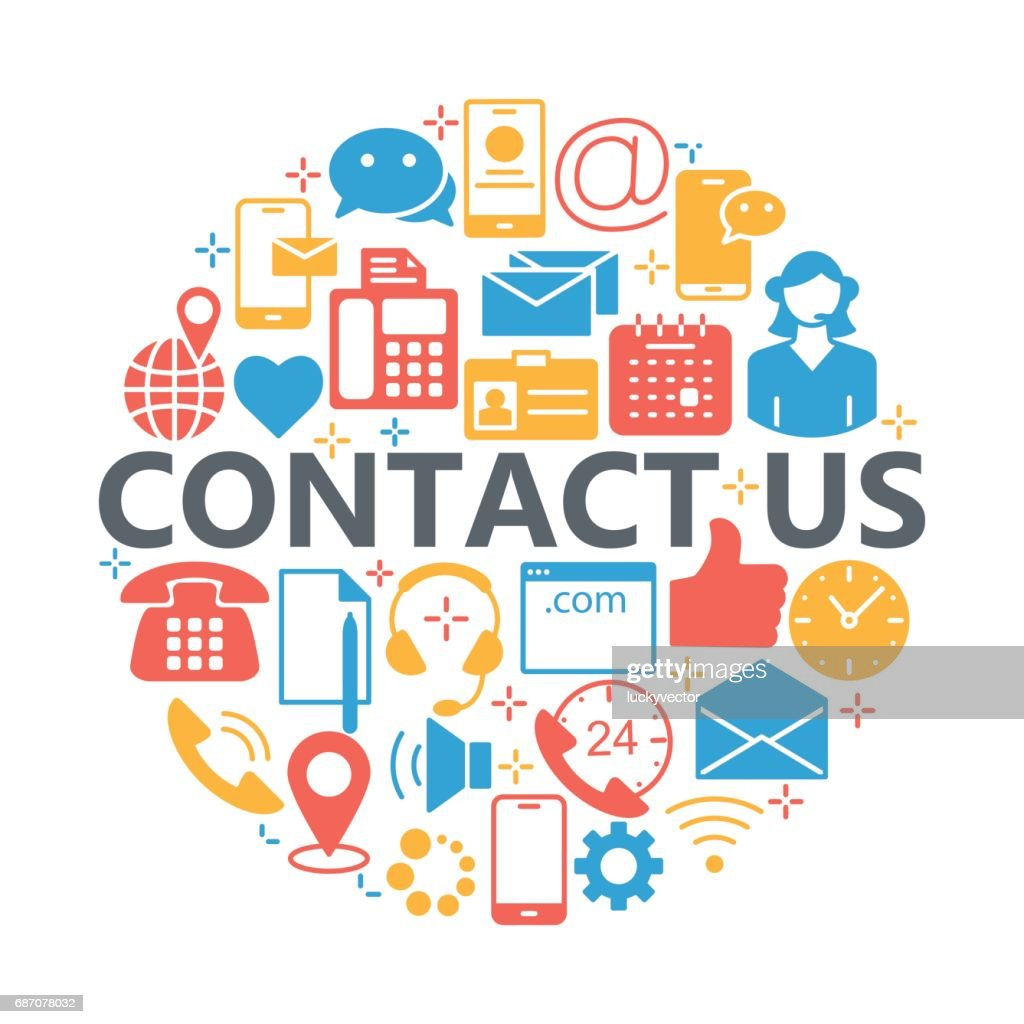 Contact us icons. Support concept set