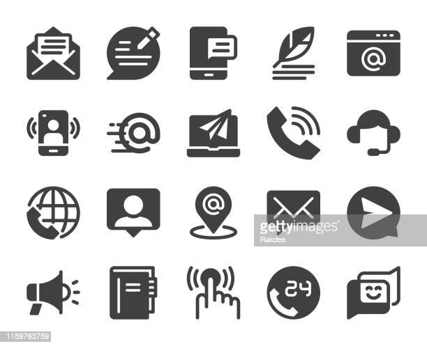 contact us - icons - e mail inbox stock illustrations