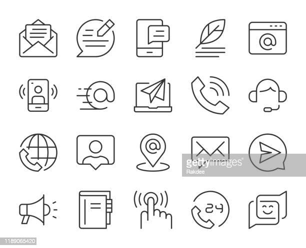 contact us - light line icons - e mail inbox stock illustrations