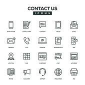 Contact Us Line Icon Set