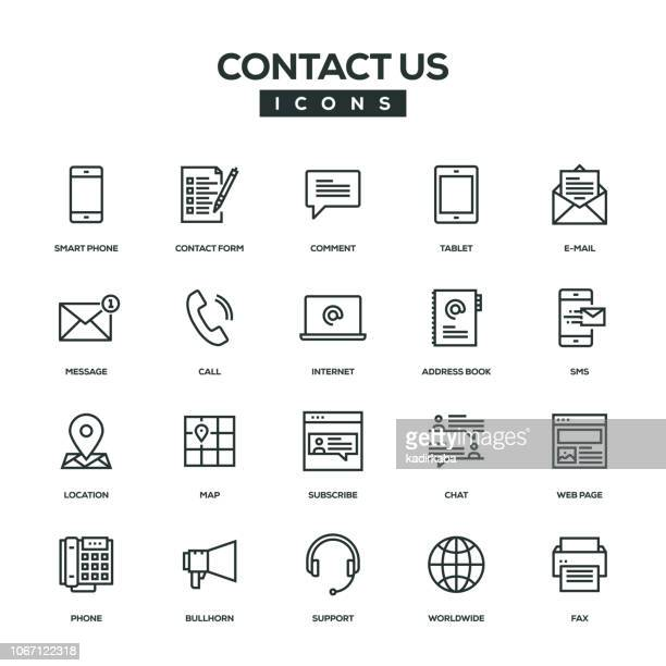 contact us line icon set - web page stock illustrations