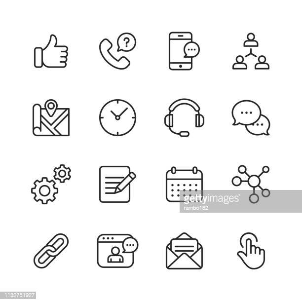 contact us line icons. editable stroke. pixel perfect. for mobile and web. contains such icons as like button, location, calendar, messaging, network. - video conference stock illustrations