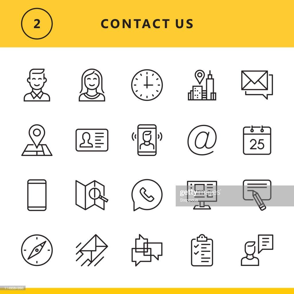 Contate-nos ícones da linha : Ilustração
