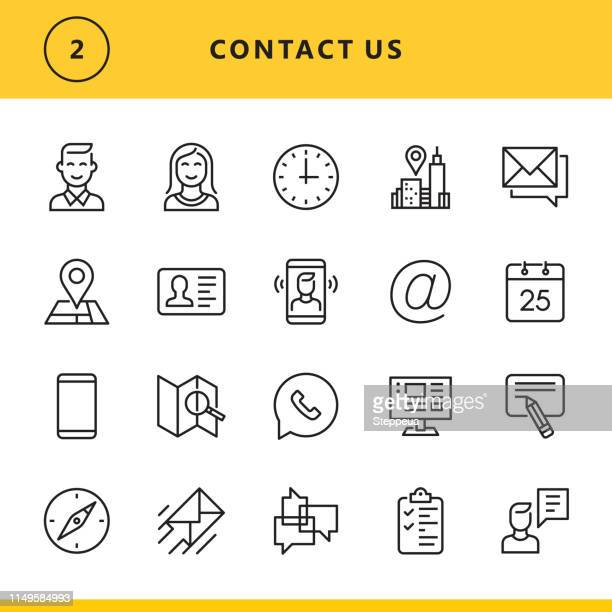 contact us line icons - human settlement stock illustrations