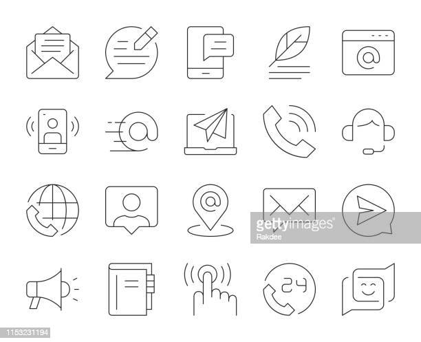 contact us - thin line icons - e mail inbox stock illustrations
