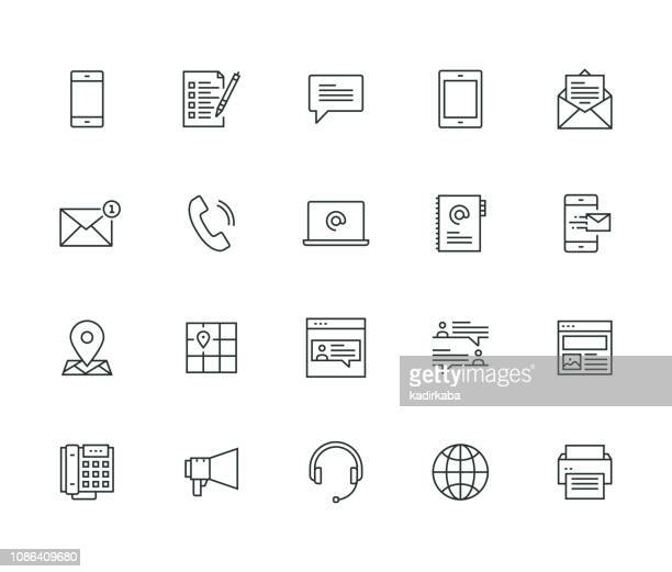 contact us thin line series - telephone stock illustrations