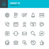 Contact Us - thin line vector icon set. Editable stroke. Pixel Perfect. Set contains such icons as Globe, Location, Feedback, Message, Support, Telephone, Mail.