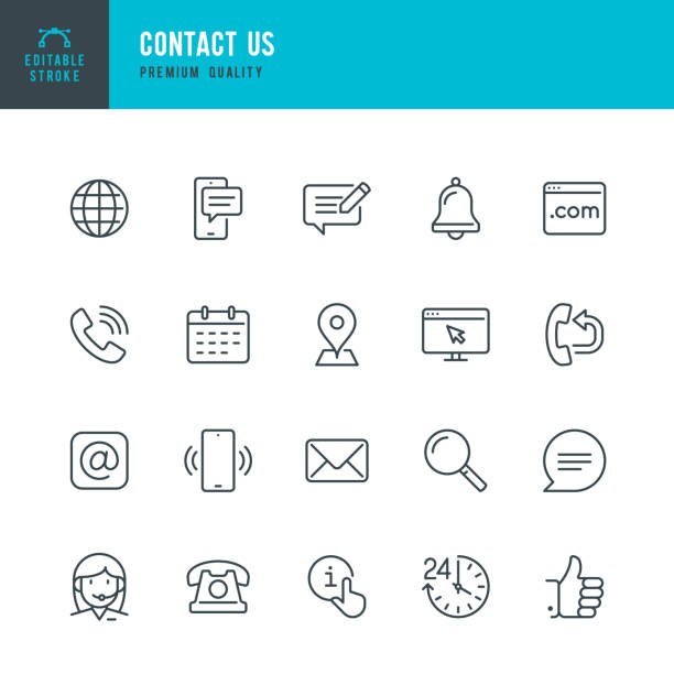 contact us - thin line vector icon set. editable stroke. pixel perfect. set contains such icons as globe, location, feedback, message, support, telephone, mail. - vector stock illustrations