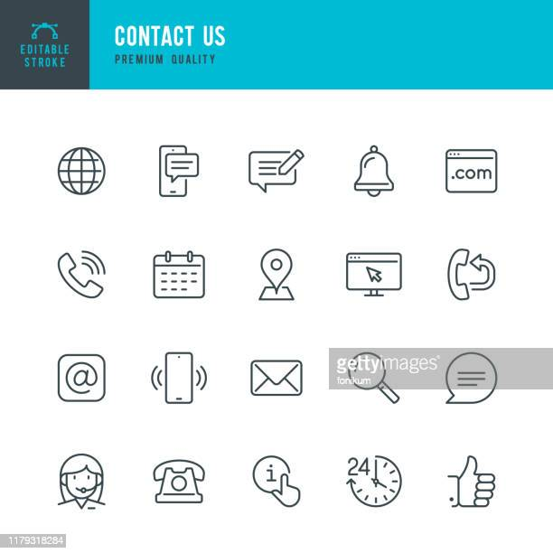 illustrazioni stock, clip art, cartoni animati e icone di tendenza di contact us - thin line vector icon set. editable stroke. pixel perfect. set contains such icons as globe, location, feedback, message, support, telephone, mail. - testo
