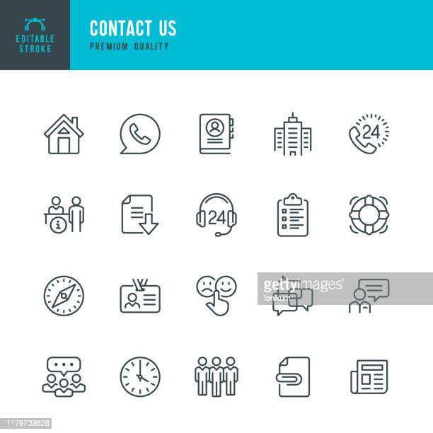 contact us - thin line vector icon set. editable stroke. pixel perfect. set contains such icons as home, help desk, feedback, office, support, team, life belt. - stream stock illustrations