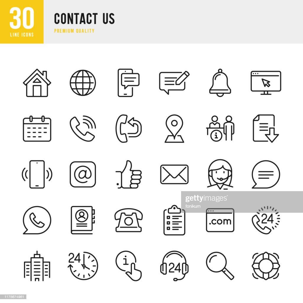 Contate-nos-linha fina jogo do ícone do vetor. Pixel perfeito. O jogo contem tais ícones como o repouso, a posição, o gabarito, a mensagem, sustentação, escritório, correio. : Ilustração