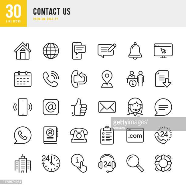 contact us - thin line vector icon set. pixel perfect. set contains such icons as home, location, feedback, message, support, office, mail. - telephone stock illustrations