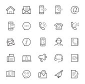 Contact us vector icon set in thin line style on white background
