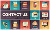 Contact Us - vector modern flat design icons set
