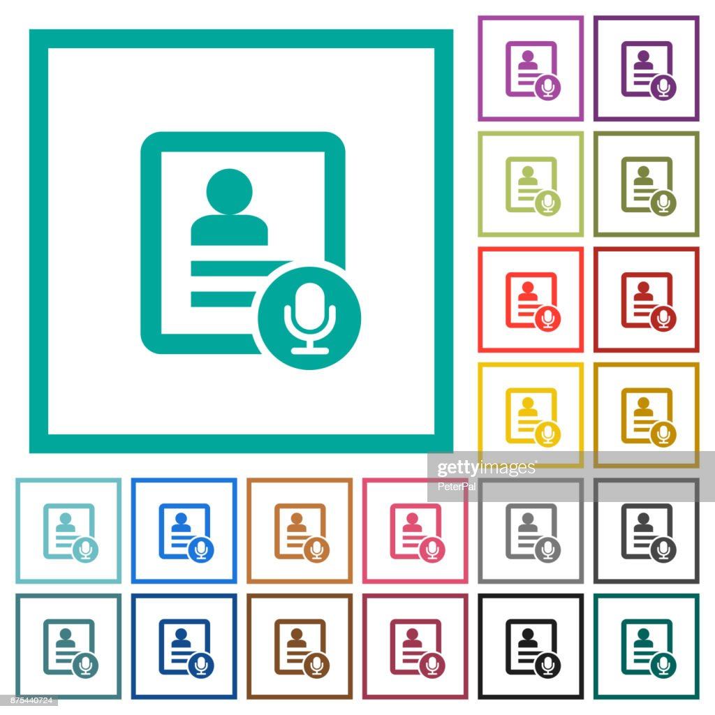 Contact voice calling flat color icons with quadrant frames