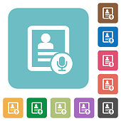 Contact voice calling rounded square flat icons