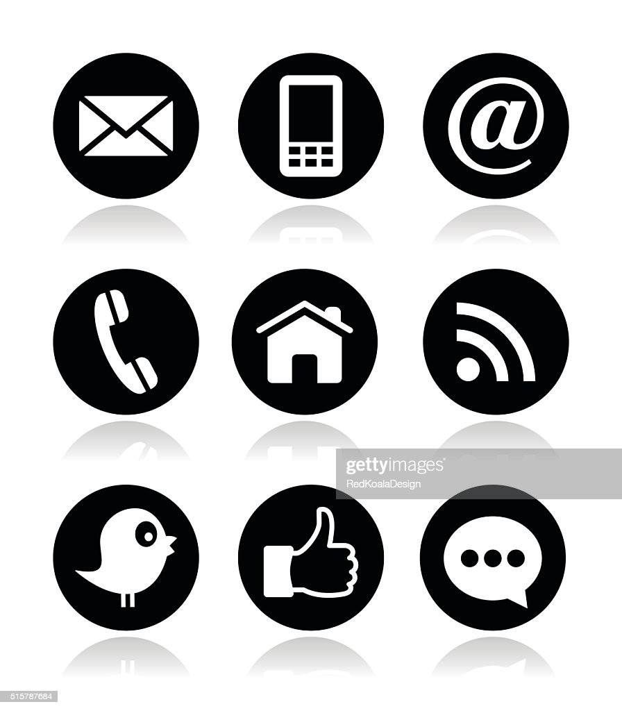 Contact, web, blog and social media round icons