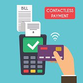 Contactless payment. Male hand holding credit card. Illustration