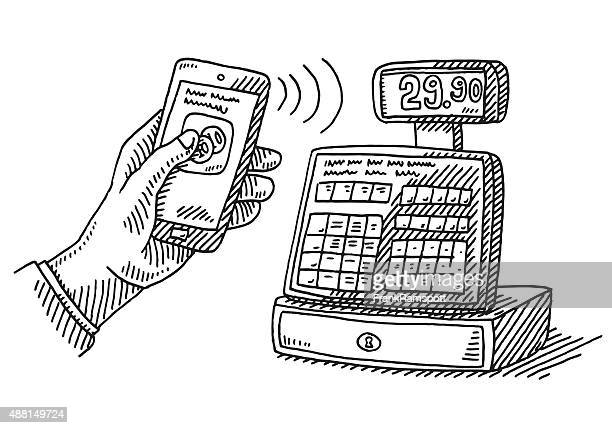 Contactless Payment Smartphone Cash Register Drawing