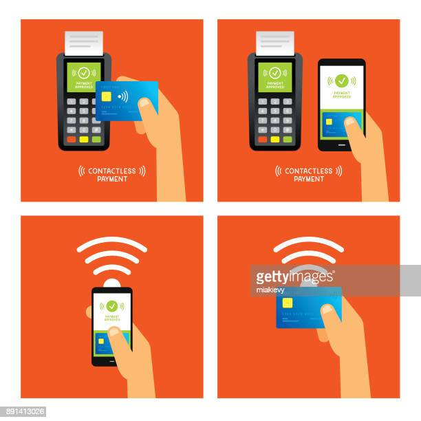 contactless payment - credit card reader stock illustrations